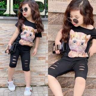 Bộ thun kiểu quần rách cực phẩm mùa hè bé gái - size 1-7 [Midu] - đồ bộ thun cotton cho bé gái -đồ bộ thun cho bé gái - Bộ bé gái thêu hình mèo