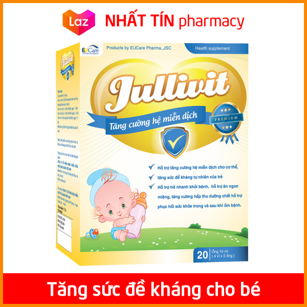 Jullivit Tăng Sức Đề Kháng Cho Bé bổ sung Kẽm, Lysin, Taurin và Vitamin tổng hợp - Hộp 20 ống x 10ml - NHẤT TÍN PHARMACY cao cấp