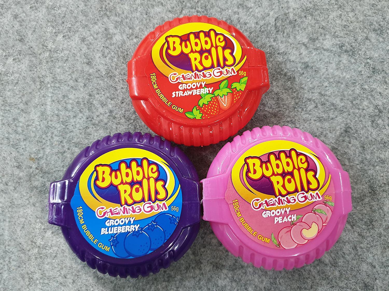 [Hot] Combo 3 hộp kẹo Singum ( cao su ) cuộn siêu dài Hubba Bubba bubble rolls chewing gum dài 180cm vị quả Đào, vị Việt Quất, vị Dâu Tây ( Mẫu mới  - Nội địa Thái Lan - Xách tay Thái ) )