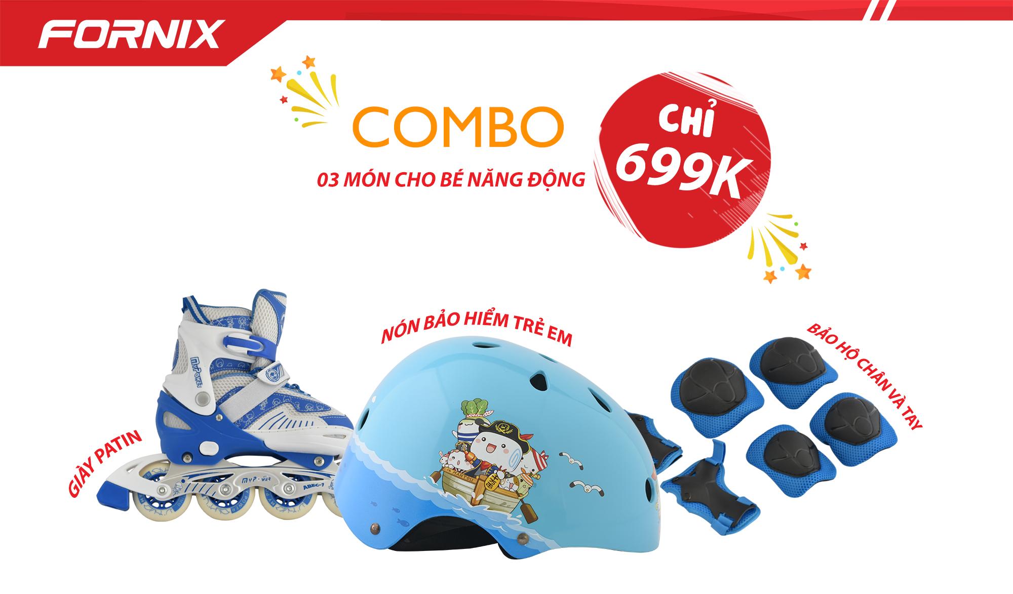Giá bán COMBO THỂ THAO TRẺ EM - Nón bảo hiểm A01N001 + Giày Patin + Đồ bảo hộ