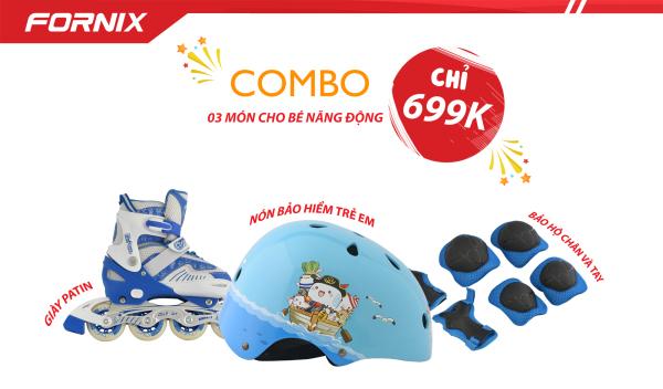 Mua COMBO THỂ THAO TRẺ EM - Nón bảo hiểm A01N001 + Giày Patin + Đồ bảo hộ