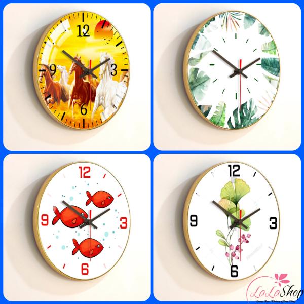 [Freeship] Đồng Hồ Treo Tường Vintage tráng gương cao cấp trang trí đẹp LaLaShop - Đồng hồ treo tường kim trôi in 3D tuyệt đẹp trang trí decor phòng ngủ phòng khách - Wall clock wood [tặng kèm đinh]