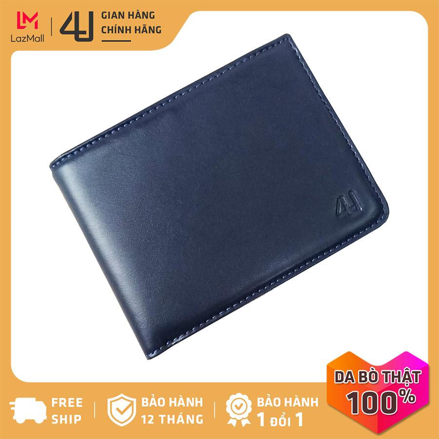 Bóp ví nam da bò thật 4U cao cấp, dáng ngang form nhỏ có nhiều ngăn đựng tiền và thẻ tiện dụng FA198 (đen-nâu-xanh dương)
