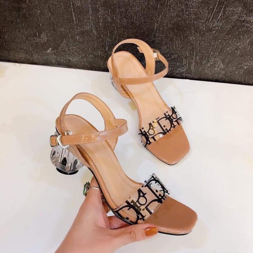 (Miễn ship) Giày nữ, giày sandal cao gót đế vuông 5 phân gót trong quai trong phối chữ PinkShopGiayDep giá rẻ
