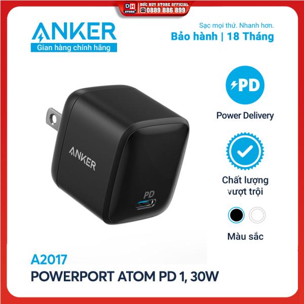 Sạc ANKER PowerPort Atom PD 1 cổng 30W [GaN Technology] - A2017 - Hỗ trợ sạc nhanh 18W cho iPhone 8 trở lên,Sạc nhanh cho iPad Pro 2018, iPad Pro 2020 và thiết bị cổng C