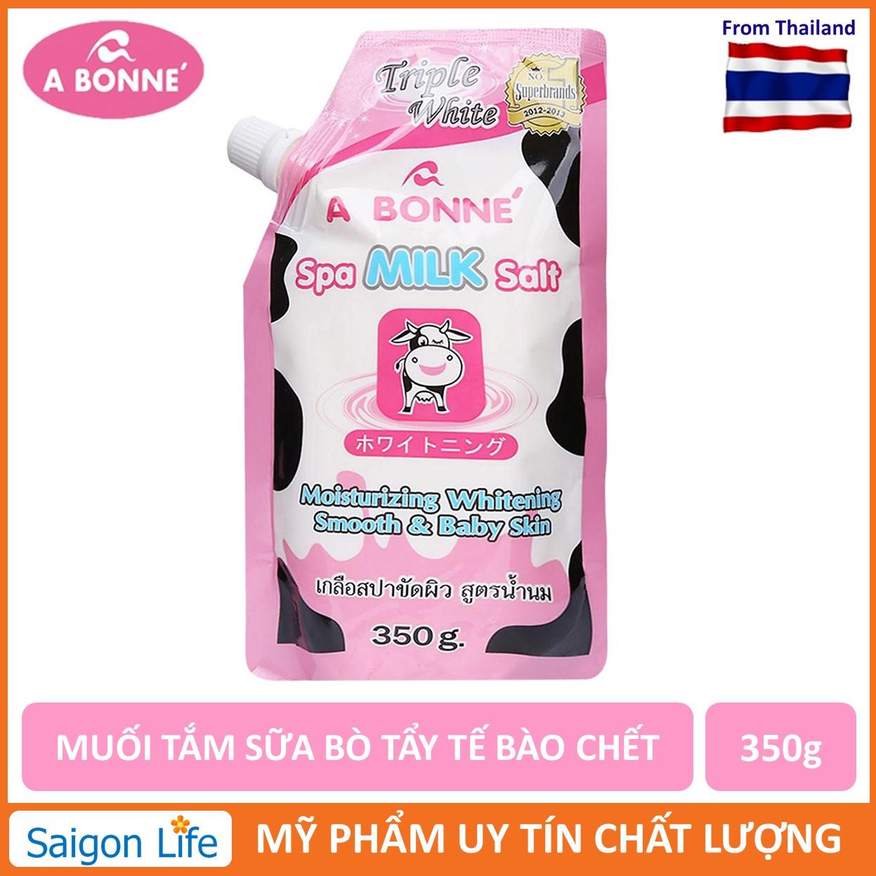 Muối Tắm Sữa Bò Tẩy Tế Bào Chết A Bonne Spa Milk Salt Thái Lan 350gr Đang Có Khuyến Mãi