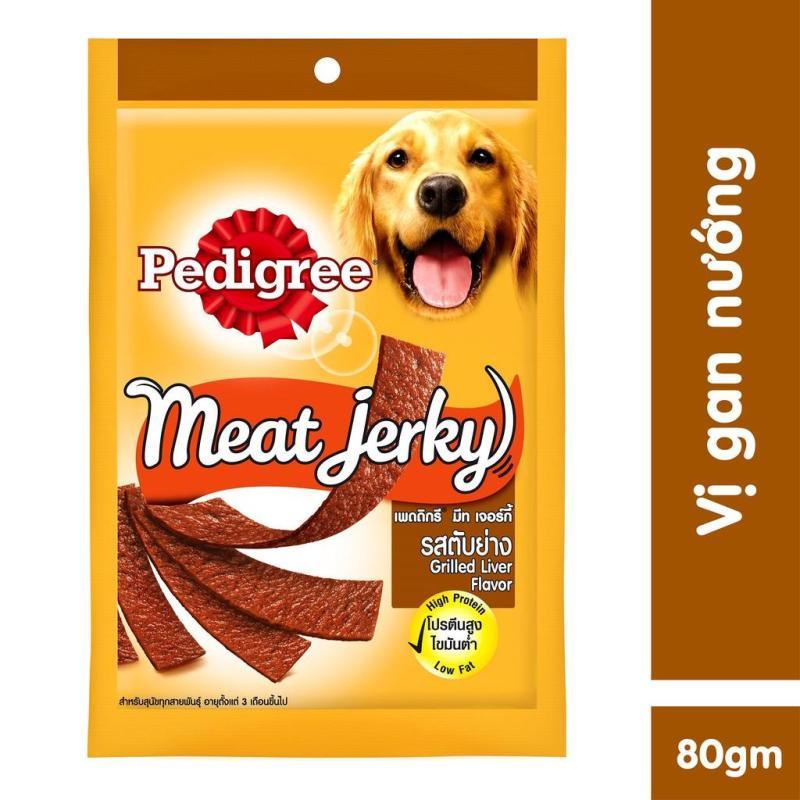 Thức ăn vặt cho chó Pedigree Meat Jerky vị gan nướng 80g
