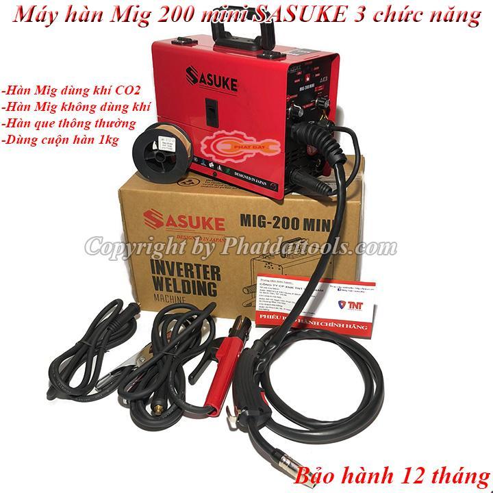 Máy hàn Mig không dùng khí SASUKE 200 mini 3 chức năng-Bảo hành 12 tháng-Đầy đủ phụ kiện-Máy hàn Mig