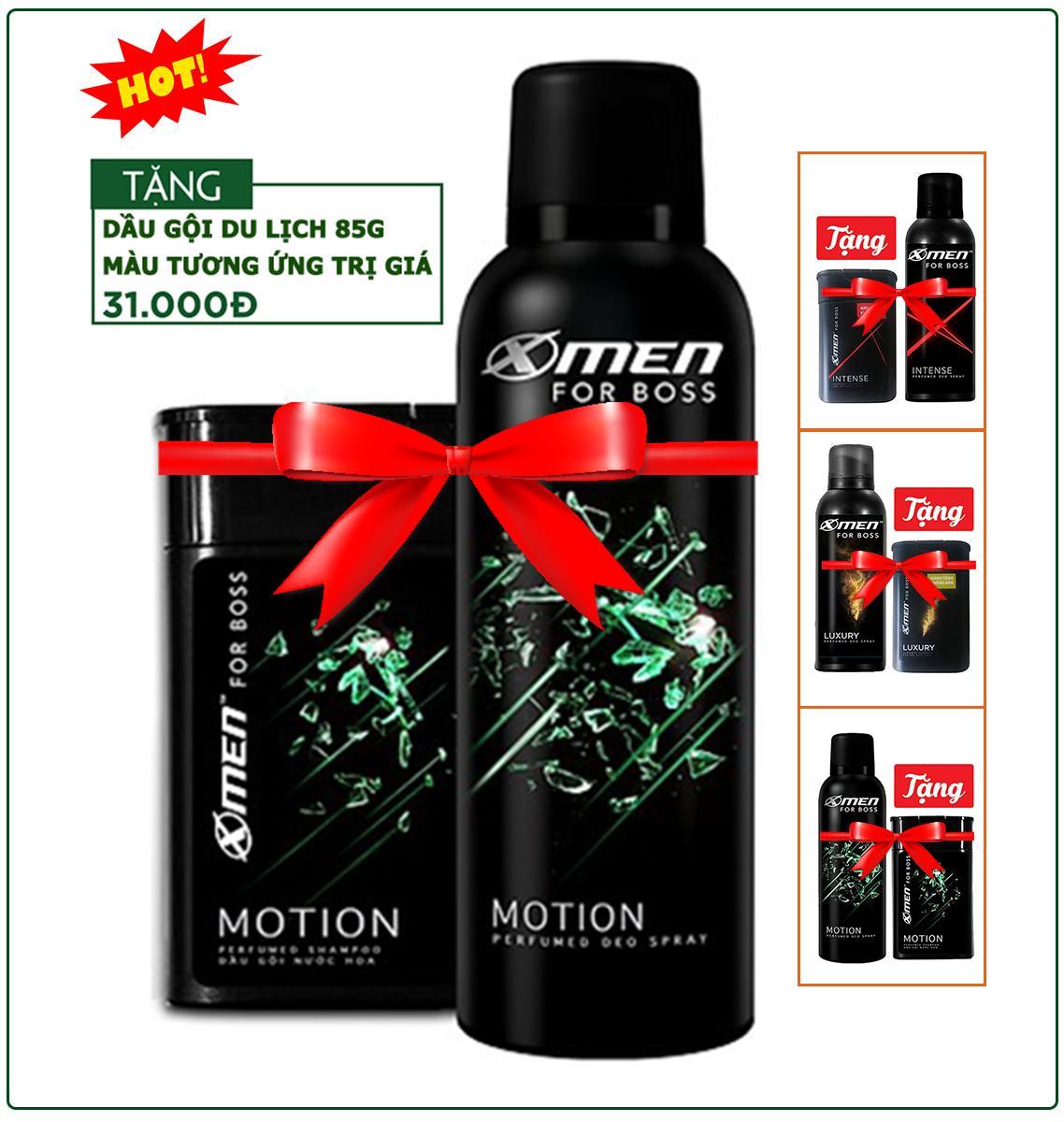 Xịt khử mùi X-Men for Boss Motion/intense/luxury - tặng dầu gội du lịch như hình nhập khẩu