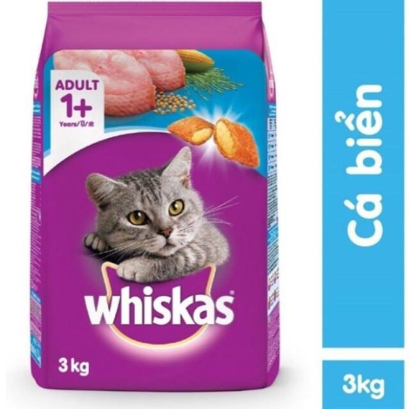 Thức ăn hạt cho mèo trưởng thành Whiskas 3kg ( vị cá biển )