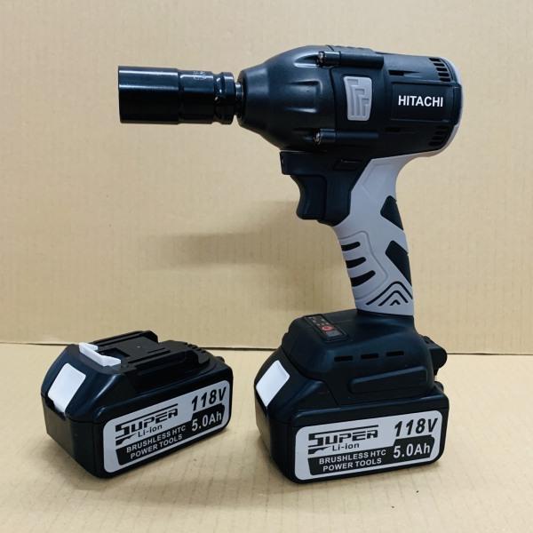 Máy siết bulong dùng pin không chổi than 118V Hitachi - Tặng kèm 1 khẩu 22MM