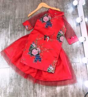 Áo dài cách tân cho bé gái, Áo dài Tết mẫu mới hottrend họa tiết hoa mai vải gấm loại đẹp cho bé từ 10 kg đến 30kg (màu đỏ, màu vàng)- Tặng kèm chân váy voan