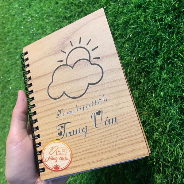 Sổ nhật ký thiết kế theo yêu cầu - Sổ bìa gỗ cứng khắc hình đám mây cute