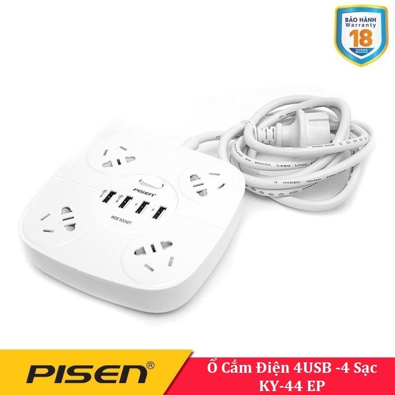 Ổ cắm điện đa năng Pisen KY-44 EP (4USB, 4AC )- BH 18 Tháng