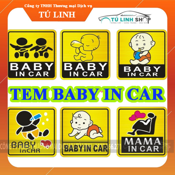 Tem decal Baby in Car dán xe hơi ô tô (Mẫu 1) thiết kế dán nhỏ gọn dễ thương độ bền cao