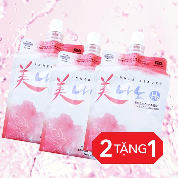 3 TÚI - Nước Hydrogen NanoBubbe có collagen và chiết xuất hoa dâm bụt bổ sung tinh chất làm đẹp cao cấp