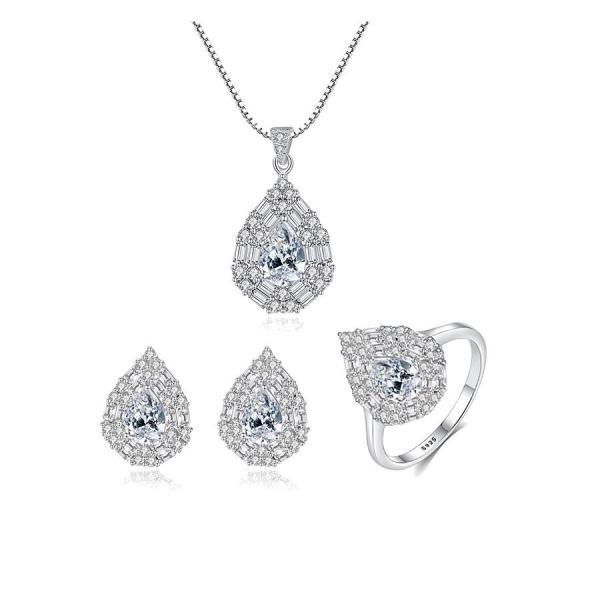 Bộ trang sức bạc nữ đẹp đính đá saphire cao cấp hình giọt nước có 2 màu gồm 3 món Bảo Ngọc Jewelry [THIẾT KẾ ĐỘC QUYỀN]