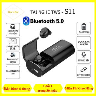 Tai Nghe Bluetooth Không Dây S11 Tws 5.0 Pin Cực Trâu - Tai Nghe Không Dây S11 Kiêm Sạc Dự Phòng 4800mAh - 5S-BeeOne. thumbnail