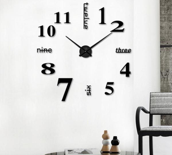 Đồng hồ dán tường cỡ lớn DIY từ 90cm đến 120cm - Đồng hồ dán tường trang trí 3D khổ lớn - Đồng hồ treo tường trang trí-  - DH072 bán chạy