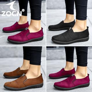 Giày Đế Bằng ZOCN Cho Nữ Giày Hàn Quốc Chống Trượt Giày Da Nữ Giày Cho Mẹ Giày Da Đế Xuồng Thời Trang Cho Nữ Giá Đặc Biệt