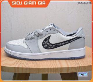 (Full Box + Sale ) Giày Thể Thao Air Jordan 1 x Di.or low xám trắng Thấp Cổ Siêu Đẹp Dành Cho Nam Nữ thumbnail
