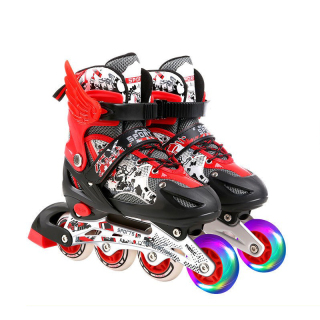 ( SALE 50%)Giày Trượt Patin Trẻ Em Có Đèn Phát Sáng Chỉnh Size Khung Hợp Kim Kèm Mũ Và Đồ Bảo Hộ Chống Chẹo Chân Chống Va Đập Tốt.bảo hành 12 tháng thumbnail