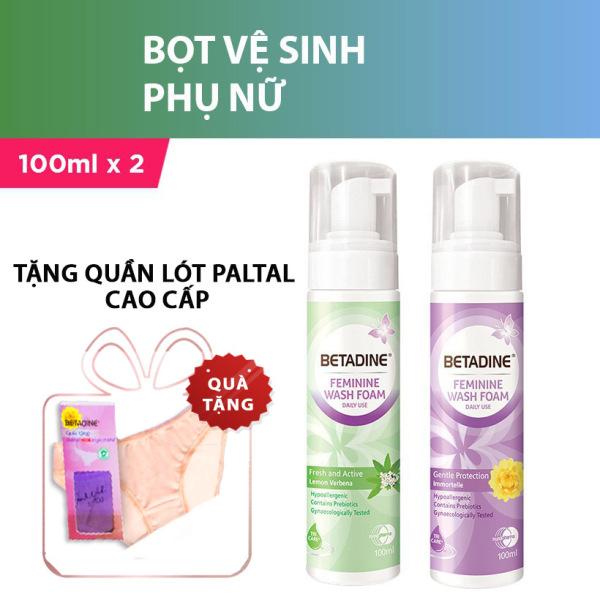 [Tăng quần lót cao cấp] Bộ 2 Bọt vệ sinh phụ nữ Betadine (Tím và Xanh) 100ml/chai giá rẻ