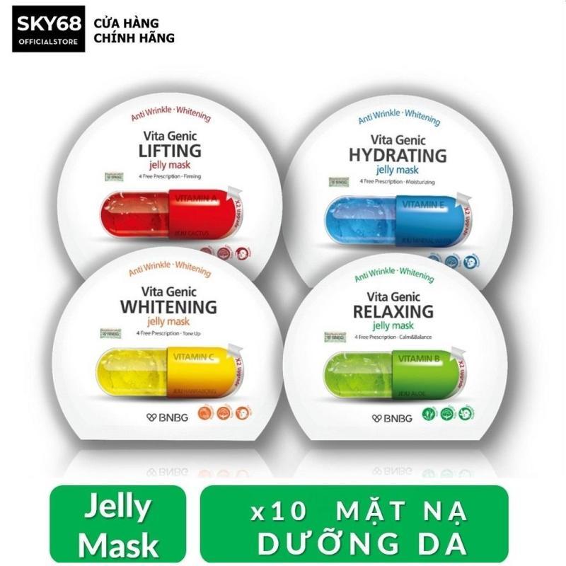 Combo Mix 10 Mặt nạ dưỡng da BNBG Vita Genic Jelly Mask 30ml x10 (Lifting, Whitening, Relaxing, Hydrating) nhập khẩu