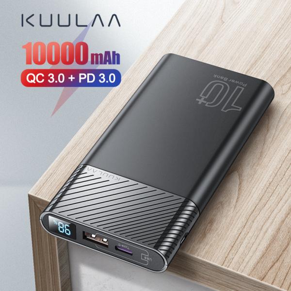 KUULAA 10000mAh PD Power Bank 18W Bộ sạc di động USB Type C có phân phối điện và sạc nhanh QC3.0 Tương thích cho iPhone iPad Samsung Huawei hầu hết các điện thoại và máy tính bảng khác cho iphone 11 pro max oppo f11 pro iphone xr samsung