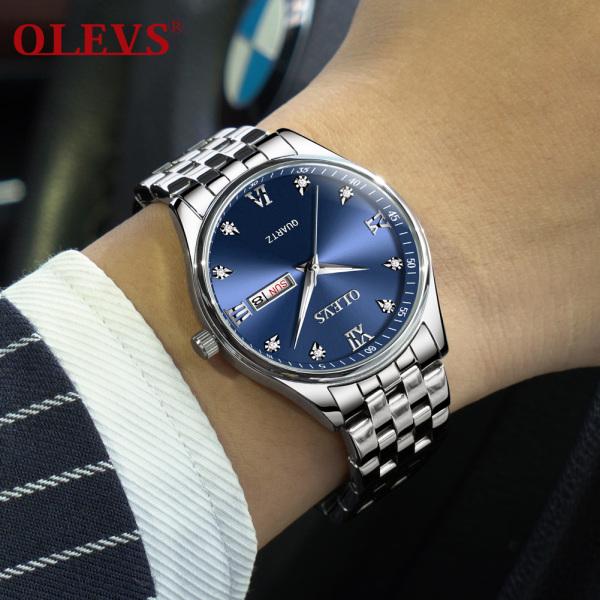 OLEVS Đồng hồ nam cao cấp chính hãng đẹp chinh hang thể thao kinh matđồng hồ nam chống nước Dây đeo bằng thép không gỉ bán chạy