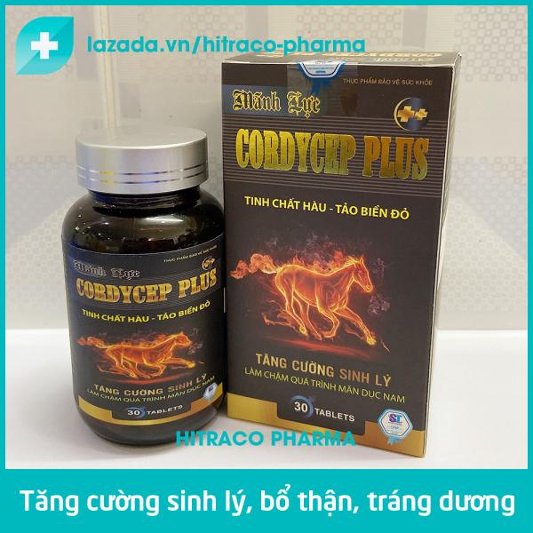 Tăng cường sinh lý nam Tinh chất Hàu - Tảo biển đỏ Cordycep Plus bổ thận tráng dương - Hộp 30 viên cao cấp
