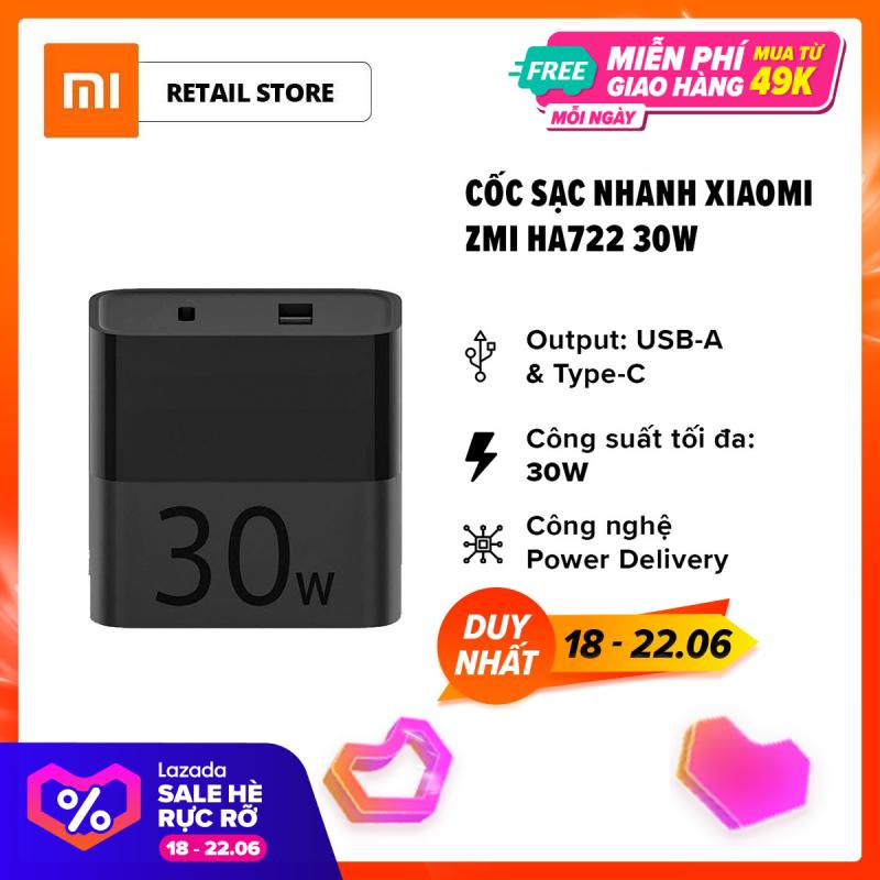 [FREESHIP] Cốc sạc nhanh Xiaomi ZMI HA722 l Output USB-A / Type-C 30W (Max) l Đen l HÀNG CHÍNH HÃNG