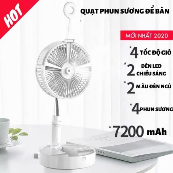 💥XẢ KHO💥Quạt phun sương gấp gọn mini để bàn đa tính năng - Sạc điện thoại, đèn ngủ,3 mức độ gió - Pin cực trâu