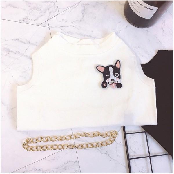 Áo phông 2021 cho chó mèo, thú cưng hình chó tặng kèm vòng cổ cool ngầu