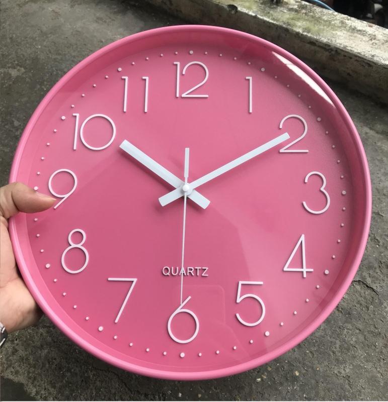 [Giá Sốc] Đồng hồ treo tường màu Hồng dễ thương cho bé bán chạy