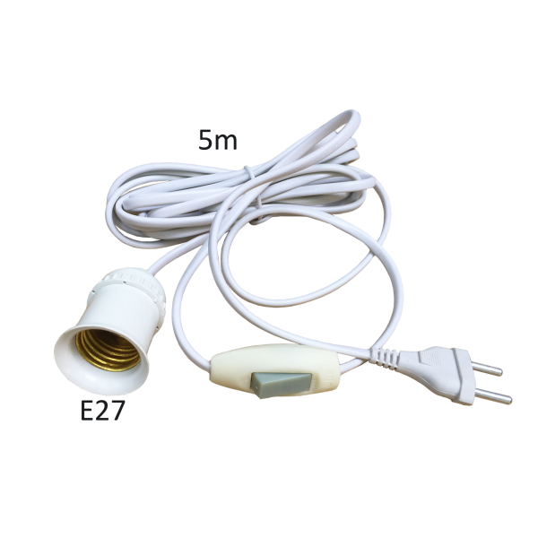 Đui đèn liền dây có công tắc và phích cắm, dài 5m, đuôi đèn E27 LH-S-P-5m