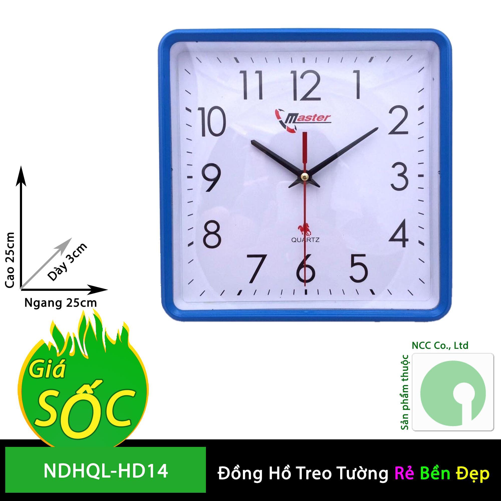 Nơi bán Đồng hồ treo tường - mặt vuông nền trắng - NDHQL-HD14 (Khung nền trắng)