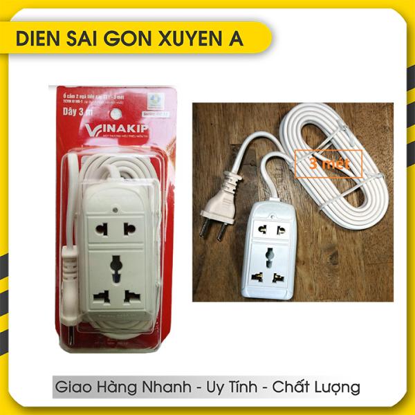 Bảng giá Ổ cắm điện du lịch đa năng 2 lỗ 3 mét 2200W 10A 250V VINAKIP - Phân phối bởi DIEN SAI GON XUYEN A