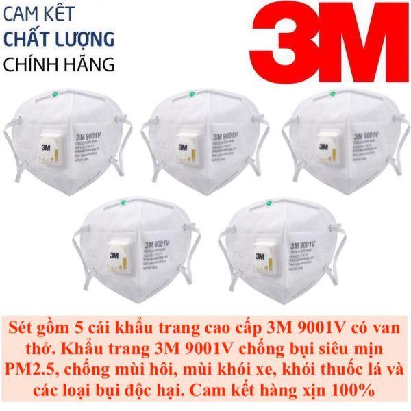 Sét gồm 5 Khẩu trang 3M 9001V chất liệu vải không dệt cao cấp, có van thở 1 chiều, chống bụi siêu mịn PM2.5, chống các loại bụi gây hại cho hệ hô hấp, chống virus cảm cúm, chống mùi khói xe, mùi khói, mùi hôi