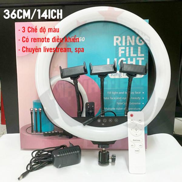 Bộ đèn live stream LC 360 (36CM) 3 kẹp điện thoại  cảm ứng+remote+ chân đèn 2m, hỗ trợ livestream facebook - bigo - quay tiktok, studio,  make up trang điểm phun xăm thẩm mỹ, spa, nối mi tiệm tóc bán hàng online -giá rẻ bao thị trườg