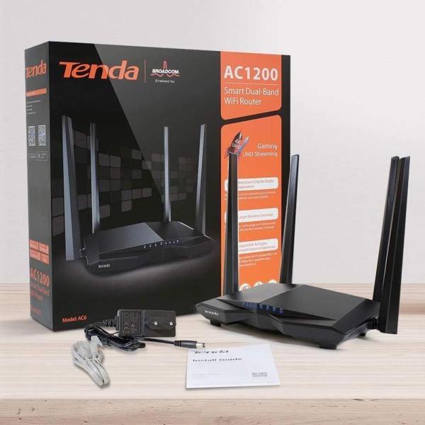 Bảng giá Router Wifi Tenda AC6 4 Anten, Wifi Chuẩn AC, Công Suất Cao Phát Sóng Cực Mạnh, Xuyên Tường Tốt. Có Chức Năng Repeater – Thu Sóng Và Phát Lại Bản Tiếng Anh Phong Vũ