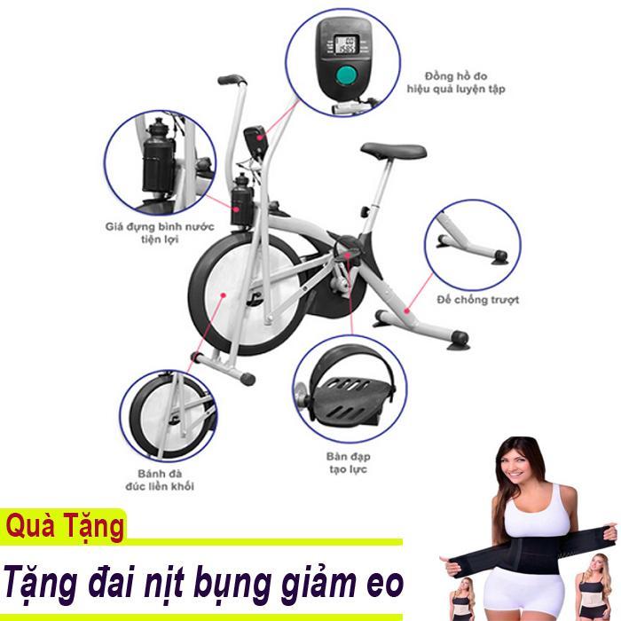 Xe đạp tập thể dục Air Bike có đo nhịp tim - Tặng đai nịt bụng giảm eo