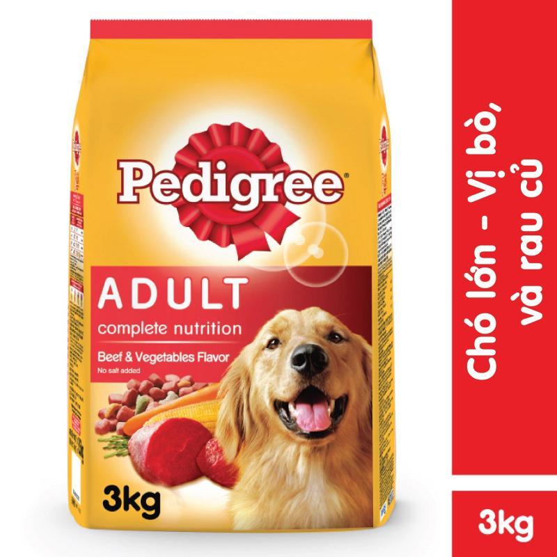 Thức ăn chó Pedigree vị thịt bò & rau củ túi 3kg Cung cấp dinh dưỡng tăng cường hệ miễn dịch