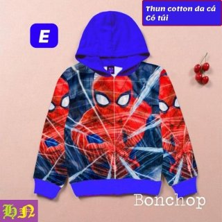 Áo khoác bé trai hình siêu nhân nhện từ 11-43kg-Áo lạnh thun da cá thấm hút mồ hôi-Hương Nhiên thumbnail