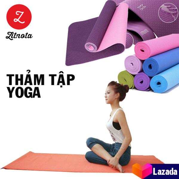 Bảng giá Thảm tập yoga 2 lớp [êm, chống nước] - thảm yoga cao cấp giá rẻ, thảm yoga bằng cao su non TPE trống trơn trượt đàn hồi - [zitnota shop]