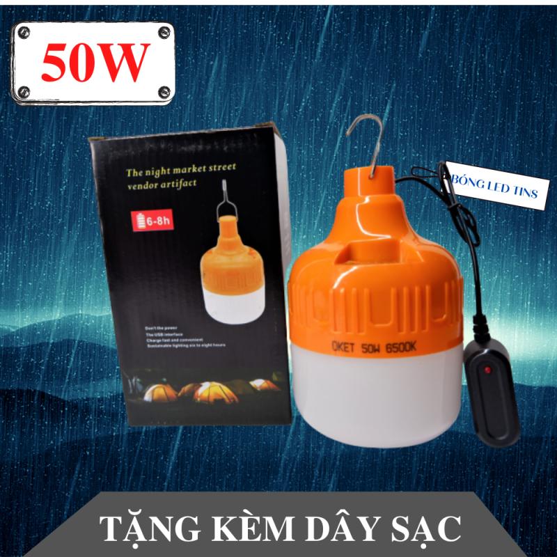 [FREE SHIP] Bóng đèn led tích điện 50W CHỐNG NƯỚC tặng kèm bộ sạc