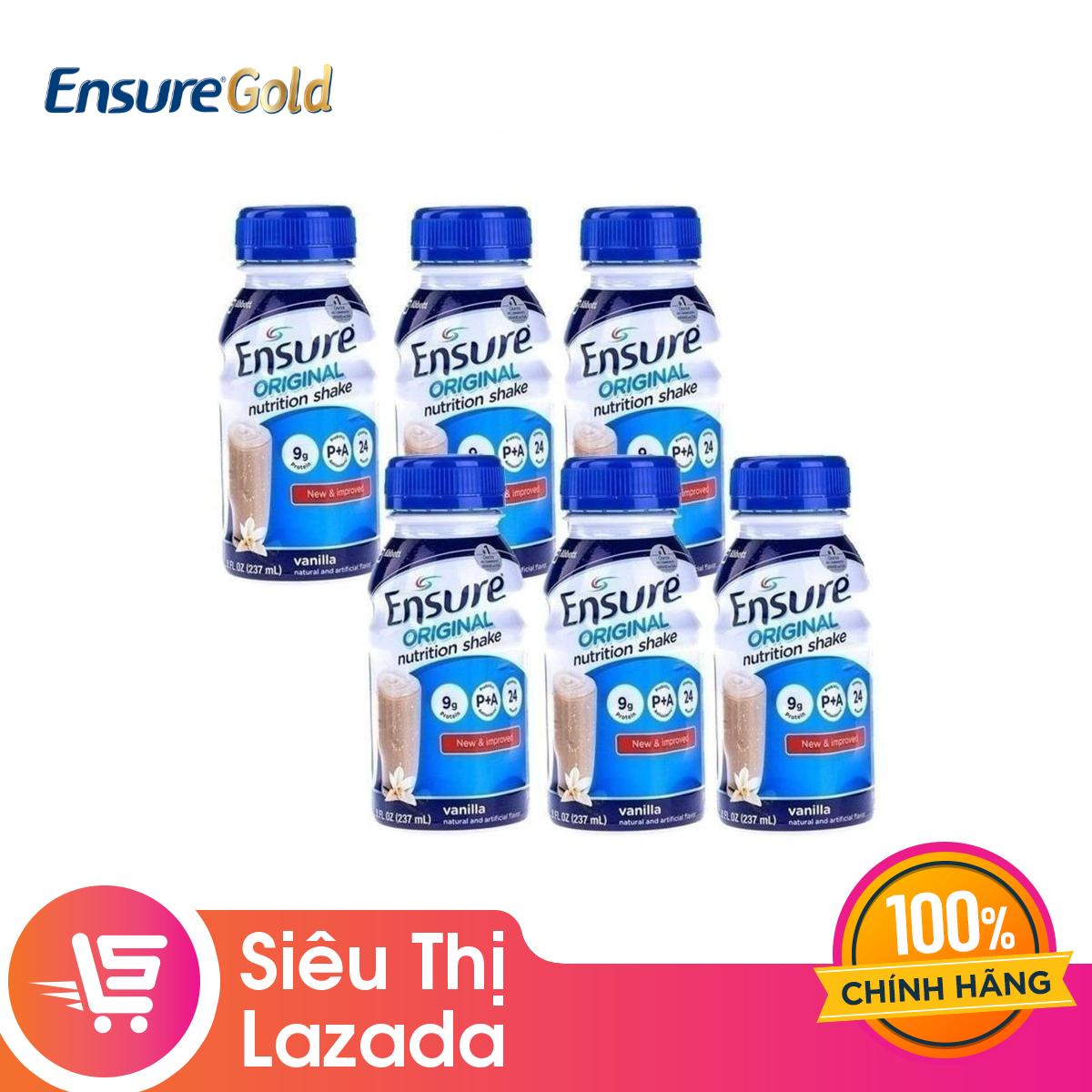 Giá Quá Tốt Để Có [FREESHIP ĐƠN TỪ 499K] Bộ 6 Chai Sữa Nước Ensure Vani 237ml