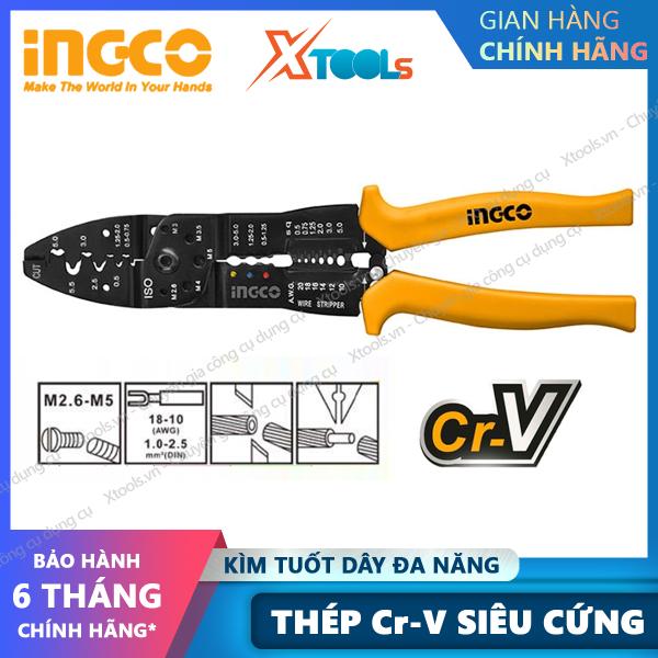 Kìm tuốt cắt dây điện đa năng INGCO 8.5 10 Kềm cắt đa năng thép Cr-V siêu bền chắc phù hợp với hầu hết mọi kích cỡ dây, sợ quang [XTOOLs][XSAFE]