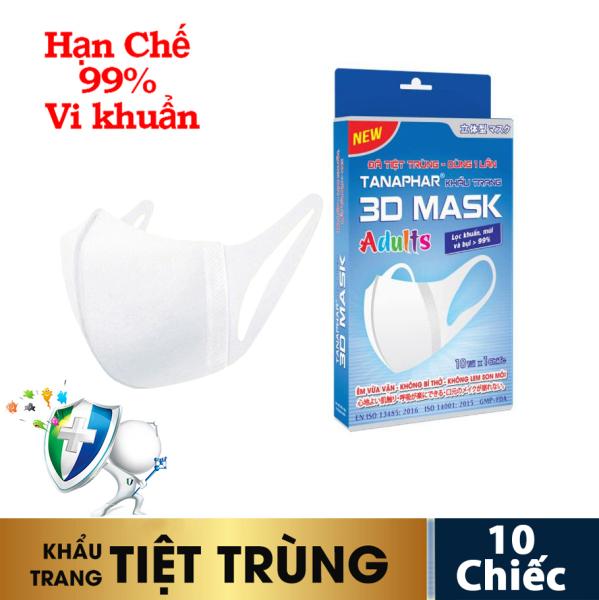 Khẩu trang y tế 3D mask Tanaphar người lớn - Hộp 10 chiếc - đã tiệt trùng với thiết kế 3D cấu trúc đa lớp ngăn khói bụi, ngăn vi khuẩn virus bảo vệ sức khỏe, thiết kế ôm khít khuôn mặt mà không ảnh hưởng khí thở khi sử dụng tốt nh