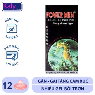Bao Cao Su Power Men Cá ngựa hộp 12 bao giúp nam giới Yêu Lâu Hơn - Siêu Mỏng - Gai Chìm và Bi Nổi.Che tên sản phẩm khi giao hàng Kalyhouse. thumbnail